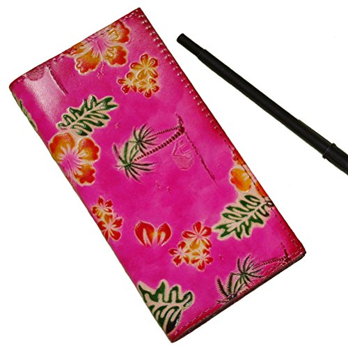Pink Embossed Leather (Genuine Leather Checkbook Cover, Hawaii Scenery Pattern Embossed, More Color (Pink))