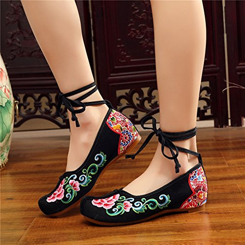 AvaCostume Womens Embroidery Nose Toe Strappy Dancing Dress Shoes Black ASbjBgmW