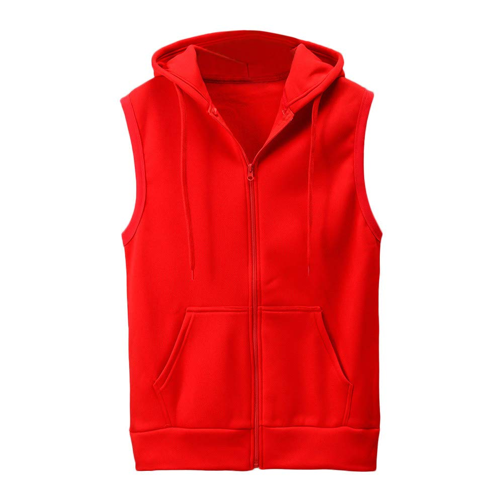 WUAI Clearance Men's Hoodie Jackets Sleeveless Slim Fit Waistcoat Solid Color Athletic Sports Tops(Red,US Size S = Tag M)
