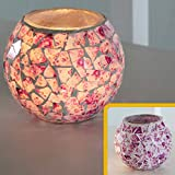 European Style Vintage Rustic Mosaic Floral Glass Led Candle Holders Geometric Tiny Shards Shivering Bowl Candleholders Flameless Battery Candlesticks Night Light for Wedding Home Party Pink