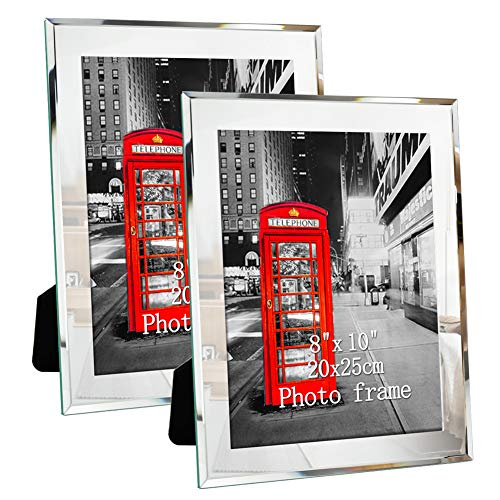 Amazing Roo Picture Frame 8x10 Glass Mirror Photo Frames 8 by 10 Inch Display for Tabletop, Set of 2
