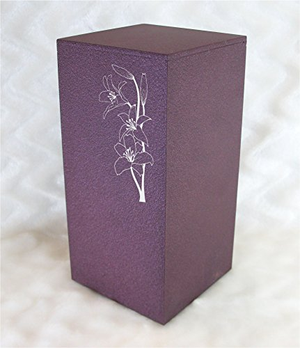 Lily Urn - PERSONALIZED Custom Engraved Side Lilies Cremation Urn Vault by Amaranthine Urns, made in the USA, Eaton DL (up to 200 lbs living weight) (Rose Wine)