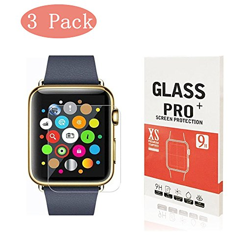 [3-Pack] Apple Watch 42mm Tempered Glass Screen Protector, Linboll - [Only Covers the Flat Area] Anti-Scratch, 9H Hardness, Bubble Free Screen Protector for Apple Watch 42mm