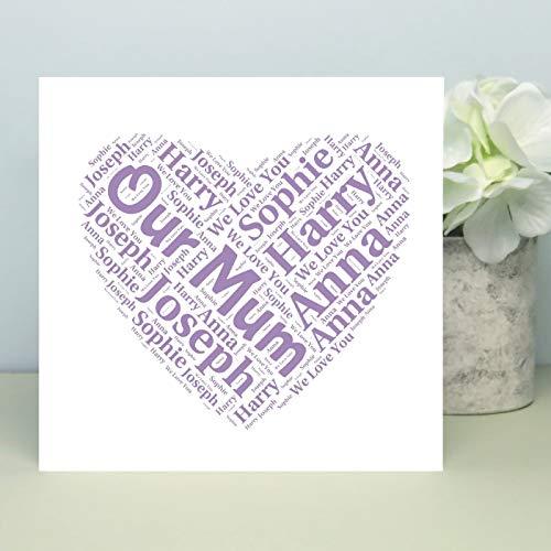 King65irginia Personalised Mothers Day Card Our Mum Typography Mum Birthday Keepsake Card from All Children Grandma Mummy