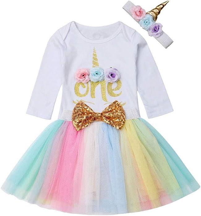 c28774dcdc3 Amazon.com  Newborn Baby Girl Unicorn Costume Long Sleeve Bodysuit Romper+Rainbow  Tutu Skirt Dress+Headband Outfit Clothes  Clothing