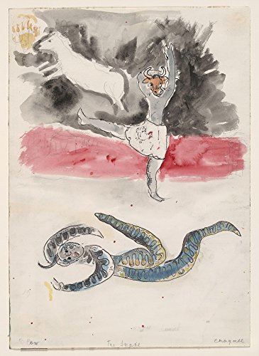 The Museum Outlet - Marc Chagall - A Snake and a Cow, costume design for Aleko, Stretched Canvas Gallery Wrapped. 58x78