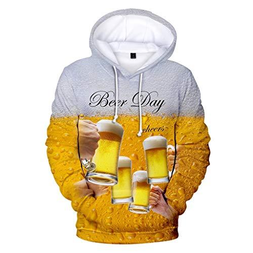 Men's Beer Festival 3D Printing Long Sleeve Hoodies Sweatershirt Tops Yellow]()