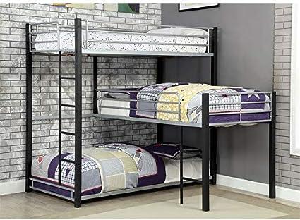 Furniture Of America Turner Modern Metal Triple Twin Bunk Bed In Sand Black