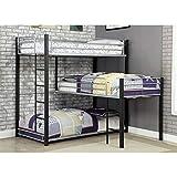 Furniture of America Turner Modern Triple Twin Bunk Bed in Sand Black