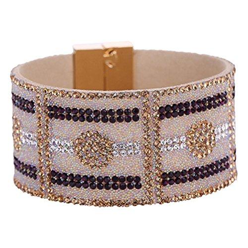 Leather Rhinestone Wide Bangle Magnetic Buckle Bracelet Fashion Jewelry (Dark Purple) (Rhinestone Buckle Bracelet)