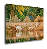 Ashley Canvas, Thai Buffalo Drink Water In River, Home Decoration Office, Ready to Hang, 20x25, AG6344554