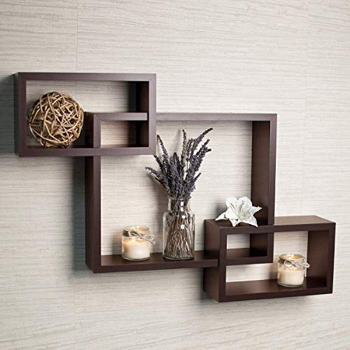 Cherry Wood Wooden Intersecting Floating Shelf Home Decorative Furniture for Home (Brown)