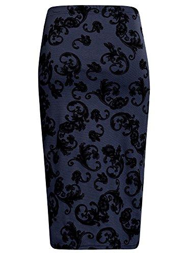 oodji Ultra Mujer Falda Lápiz con Estampado de Felpa Azul (7529E)