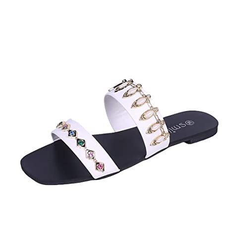 f3eccf84ab2282 Image Unavailable. Image not available for. Color  Women s Sandal Slippers  Shoes Solid Crystal ...