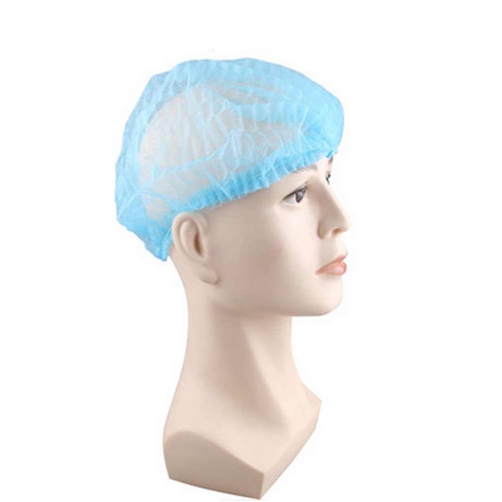 100 Pcs Disposable Non-woven Hair Net Cap Lightweight Nurse Bouffant Cap Hairnet Restraint Labs Hospitals Medical Food Service Elastic Free Size (Blue)