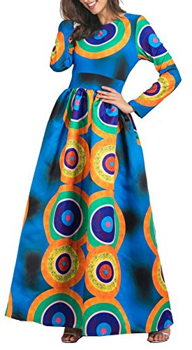 Les Femmes Blansdi Col Rond Manches Longues En Forme Imprimé Afrique Évasé Élégante Robe De Robe Maxi Comme Image