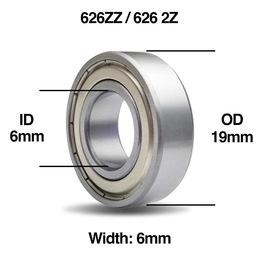 10 x 608ZZ Carbon Steel Metal Shielded Deep Groove Ball Bearings 8x22x7mm