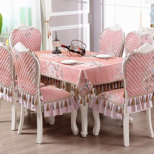 Home Kitchen Tablecloth Set Rectangle Barcelona Luxury Damask Fabric Tablecloth Chair Back Cover and Chair Cushion Cover Dining Table Cover for Wedding Christmas New Year Eve Gift,3 Colors (Tablecloths Thanksgiving Target)
