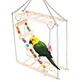 Zinnor Pet Hanging Ladder Wooden Suspension Bridge Steps Stairs Climbing Swing Double-Layer Toys For Bird Parakeet Hamster Hammock Cage Toy