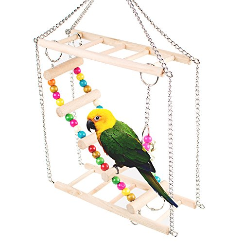 Zinnor Pet Hanging Ladder Wooden Suspension Bridge Steps Stairs Climbing Swing Double-Layer Toys For Bird Parakeet Hamster Hammock Cage Toy by Zinnor