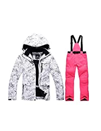 Women's High Windproof Technology Colorfull Printed Ski Jacket and Pants