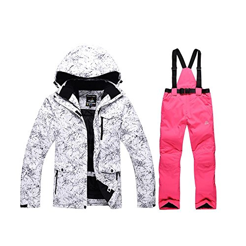 (RIUIYELE Fashion Women's High Waterproof Windproof Snowboard Colorful Printed Ski Jacket and Pants)