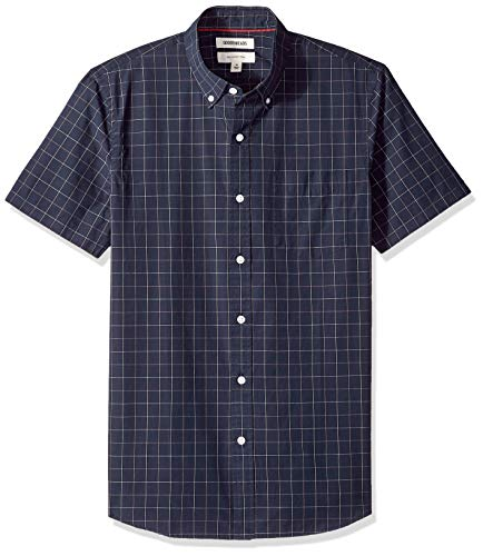 Goodthreads Men's Slim-Fit Short-Sleeve Plaid Poplin Shirt, -navy windowpane, -