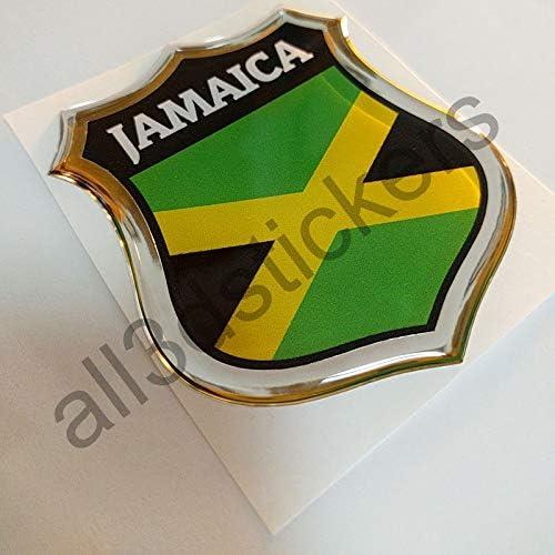 All3DStickers Aufkleber Jamaika Kfz-Aufkleber Jamaika Emblem Gedomt Flagge 3D Fahne