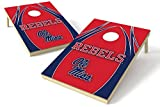 NCAA College Mississippi Old Miss Rebels 2x3 Wood Tailgate Toss Platinum College V Logo Game, Multicolor, 24x36''