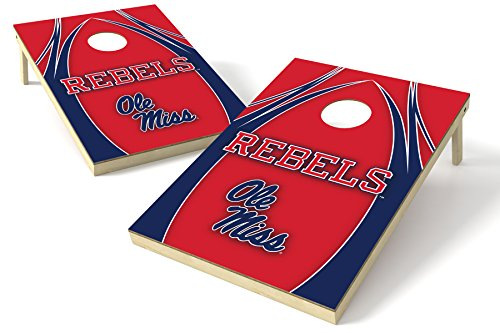 NCAA College Mississippi Old Miss Rebels 2x3 Wood Tailgate Toss Platinum College V Logo Game, Multicolor, 24x36'' by Wild Sports