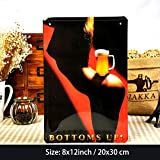 girl beer signs - VintageBee Retro Sign Wall Metal Home Pub Bar Poster Metal Curvy Girls Bottoms Up Beers 8'' X 12'' a122