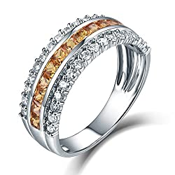 White Gold With Yellow Sapphire Eternity Ring