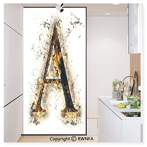 Non-Adhesive Privacy Window Film Door Sticker Fiery Pattern First Letter of Alphabet Flame Texture Worn Stained Background Glass Film 23.6 in. by 78.7in. (60cm by 200cm),Tan Black Orange