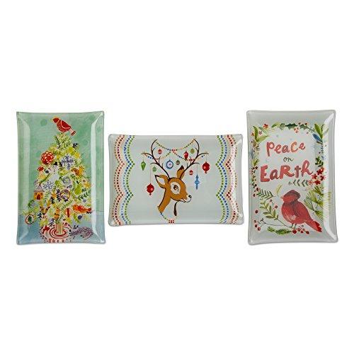 Tag Holiday Reindeer Bird Christmas Small Glass Plates (Set/3)