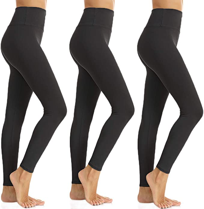 ZOOSIXX High Waisted Leggings for Women, Opaque Soft Slim Tummy Control Pants for Yoga Workout Running - 3 Pack