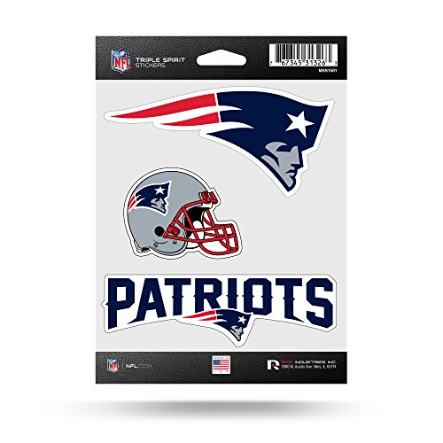 NFL New England Patriots  Triple Spirit Stickers, Red, White, Blue, 3 Team (New Car Sticker Decal)