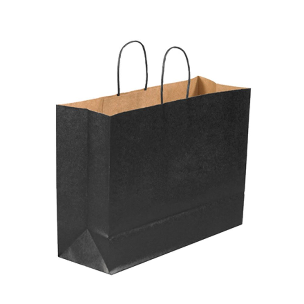 Aviditi BGS108BL Tinted Shopping Bag, 16'' Length x 6'' Width x 12'' Height, Black (Case of 250)
