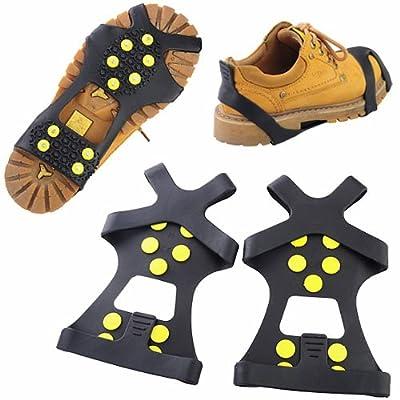 10-stud extérieur antidérapant Neige antidérapant Step & Ice Crampons Overshoes-black