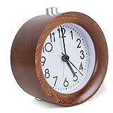 Funwill Wooden Round Alarm Clock Classic Silent Desk Clock Nightlight Kids Bedroom,Dorm,Office