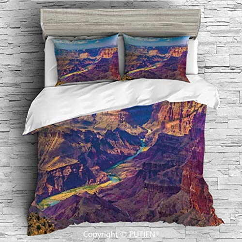 (QUEEN Size Cute 3 Piece Duvet Cover Sets Bedding Set Collection [ House Decor,Aerial View of Epic Grand Canyon Activity of River Stream over Rock Plateau Print,Blue Tan ] Comforter Cover Set for Kids)