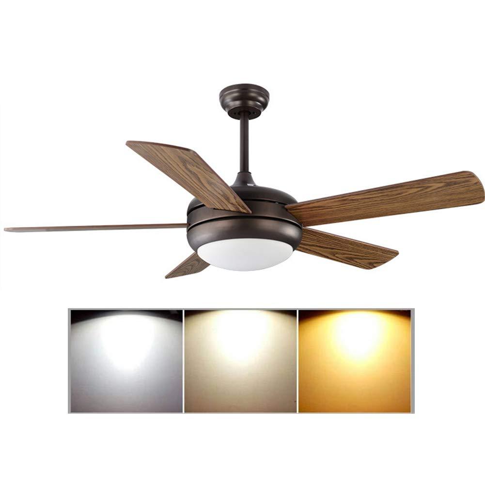 天井ファン と ライトキット 52インチ 3ブレード LED リモート 低ノイズ  Brown B07RNMGB3B