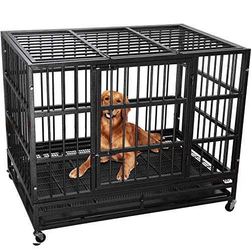 Lemberi Heavy Duty Dog Cage Crate, Pet Kennel Strong Metal for Training Large Dog, Easy to Assemble, with Two Prevent…