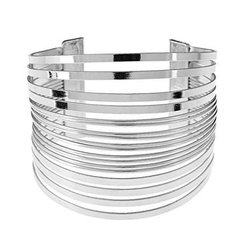 MXYZB Stainless Steel Wide Cuff Bangle Bracelet Hollow Hoop Open Ended Adjustable (Silver) Adjustable Wide Bangle Bracelet