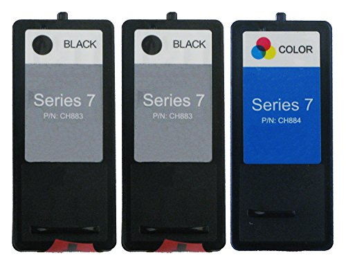OCProducts Refilled Dell Series 7 DH828 DH829 Ink Cartridge Replacement for Dell Photo 966 968 968w Printers (2 Black 1 (968 Photo Ink)