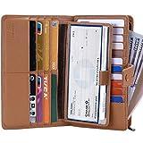 Itslife Women's Big Fat Rfid Leather wallet clutch organizer checkbook holder (Light Brown)