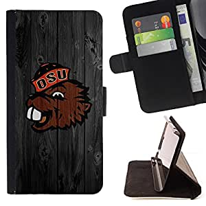 Benny Beaver Oregon Football - Painting Art Smile Face Style Design PU Leather Flip Stand Case Cover FOR Samsung Galaxy S5 V SM-G900 @ The Smurfs