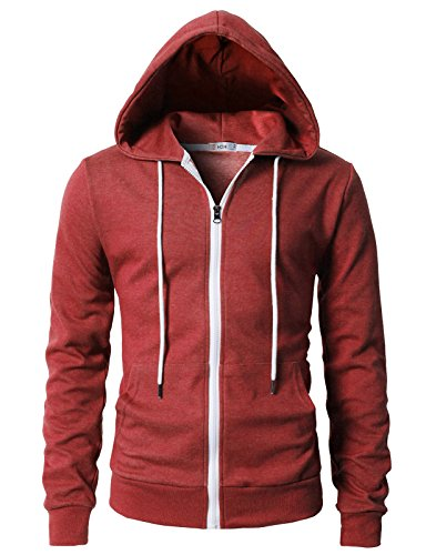 H2H Mens Lightweight Zip Up Hoodie, Color Options HEATHERRED US XL/Asia 2XL (KMOHOL0131)