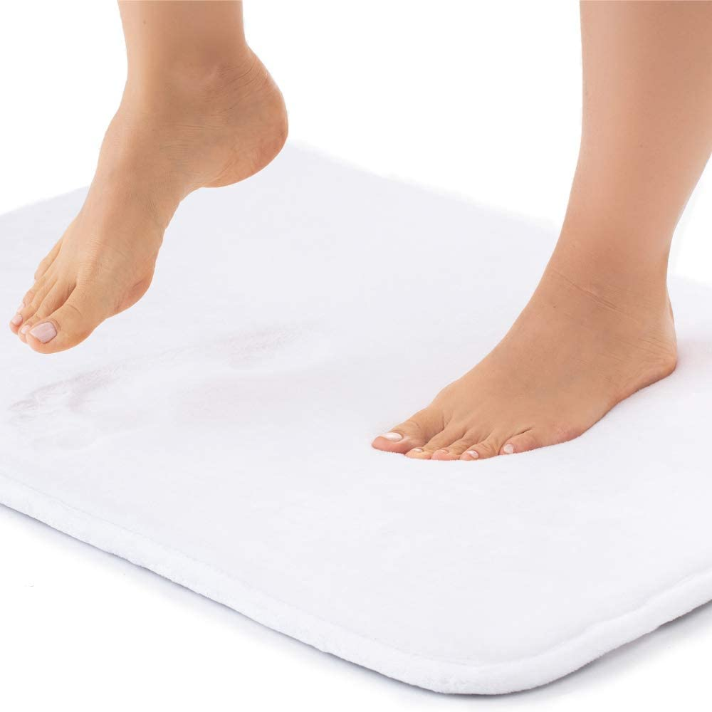 Gorilla Grip Original Thick Memory Foam Bath Rug, 60x24, Cushioned, Soft Floor Mats, Absorbent Premium Bathroom Mat Rugs, Machine Washable, Luxury Plush Comfortable Carpet for Bath Room, Bright White