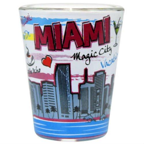 Florida Heart - Miami Florida Skyline Heart Pop Art Shot Glass