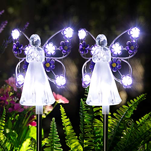 GIGALUMI Solar Angel Garden Stake Lights - 2 Pack Angel Solar Lights Outdoor Garden, Eternal Light Angel with 7 LEDs for…